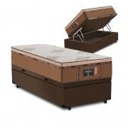 Cama Box Baú Solteiro Marrom + Colchão de Molas Ensacadas - Comfort Prime - New Imperador - 88x188x75cm