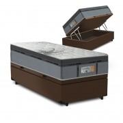 Cama Box Baú Solteiro Marrom + Colchão de Molas Ensacadas - Comfort Prime - New Aspen - 88x188x72cm