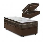 Cama Box Baú Solteiro Marrom + Colchão de Molas Superlastic - Comfort Prime - Coil Classic - 88x188x64cm