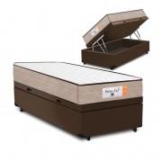 Cama Box Baú Solteiro Marrom + Colchão de Molas Superlastic - Comfort Prime - Coil Crystal 78x188x60cm