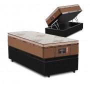 Cama Box Baú Solteiro Preta + Colchão de Molas Ensacadas - Comfort Prime - New Imperador - 88x188x75cm