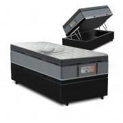 Cama Box Baú Solteiro Preta + Colchão de Molas Ensacadas - Comfort Prime - New Aspen - 88x188x72cm