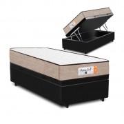 Cama Box Baú Solteiro Preta + Colchão de Molas Superlastic - Comfort Prime - Coil Crystal 78x188x60cm