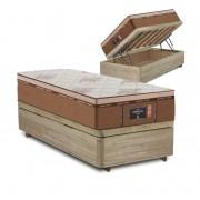Cama Box Baú Solteiro Rústica + Colchão de Molas Ensacadas - Comfort Prime - New Imperador - 88x188x75cm