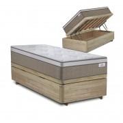 Cama Box Baú Solteiro Rústica + Colchão de Molas Ensacadas - Plumatex - Ilhéus - 88x188x68cm