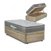 Cama Box Baú Solteiro Rústica + Colchão Espuma D33 - Lucas Home - Confort D33 88x188x68cm