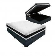 Cama Box Baú Viúva Cinza + Colchão De Espuma D45 - Castor - Black White Double Face 128x188x69cm