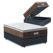 Cama Box Baú Viúva Cinza + Colchão de Molas Ensacadas - Comfort Prime - Aspen - 128x188x72cm