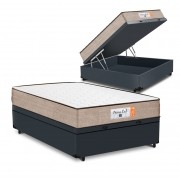 Cama Box Baú Viúva Cinza + Colchão de Molas Superlastic - Comfort Prime - Coil Crystal - 128x188x60cm