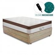 Cama Box Casal Rústica + Colchão Massageador c/ Infravermelho - Anjos - New King 138x188x67cm