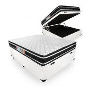 Cama Box Com Baú Casal + Colchão De Espuma D33 - Castor - Black White Double Face 138cm