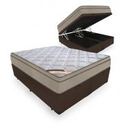 Box Com Baú Casal Bipartido + Colchão de Molas  - Castor - Revolution Bonnel 69x188x138cm