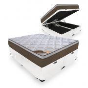 Box Com Baú Casal Bipartido + Colchão de Molas Ensacadas - Castor - Revolution Pocket 69x188x138cm