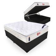 Cama Box Com Baú Casal + Colchão de Molas Ensacadas  - Castor - Vitagel SLX One Face Pillow Top  71x188x138cm
