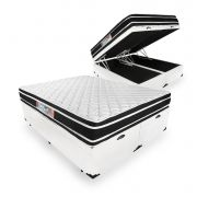 Cama Box Com Baú King + Colchão De Espuma D33 - Castor - Black White Double Face 193cm
