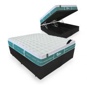 Cama Box Com Baú King + Colchão De Molas Ensacadas - Castor - Green Unique 193cm