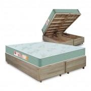 Cama Box com Baú King Rústica + Colchão De Espuma D33 - Castor - Sleep Max 193x203x60cm