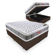 Cama Box Com Baú Queen + Colchão de Molas Ensacadas - Castor - Light Stress Oxygen New Double Face 76x198x158cm