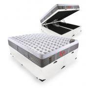 Cama Box Com Baú Queen + Colchão De Molas Ensacadas - Castor - Light Stress Oxygen New One Face 158cm