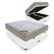 Cama Box Com Baú Queen + Colchão de Molas Ensacadas - Castor - Revolution Híbrido 69x198x158cm