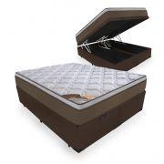 Cama Box Com Baú Queen + Colchão de Molas Ensacadas - Castor - Revolution Pocket 69x198x158cm