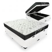 Cama Box Com Baú Queen + Colchão De Molas - Probel - Prodormir Sleep Black 158cm