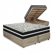 Cama Box com Baú Queen Rústica + Colchão De Molas - Anjos - Black Graphite 158x198x68cm