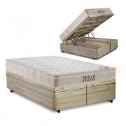 Cama Box com Baú Queen Rústica + Colchão De Molas Ensacadas - Ortobom - AirTech SpringPocket 158x198x72cm