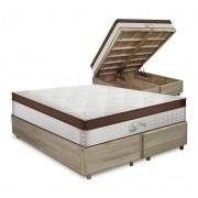 Cama Box com Baú Queen Rústica + Colchão Massageador c/ Infravermelho - Anjos - New King 158x198x72cm
