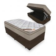Cama Box Com Baú Solteiro + Colchão de Molas - Castor - Revolution Bonnel 69x188x88cm