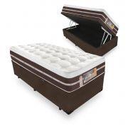 Cama Box Com Baú Solteiro + Colchão de Molas Ensacadas - Castor - Silver Star Air Híbrido 74x188x88cm