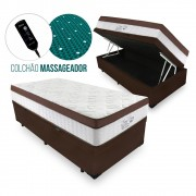 Cama Box Com Baú Solteiro + Colchão Massageador c/ Infravermelho - Anjos  - New King 88cm