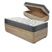 Cama Box com Baú Solteiro Rústica + Colchão De Espuma D33 - Ortobom - ISO 100 88x188x60cm
