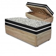 Cama Box com Baú Solteiro Rústica + Colchão De Molas - Anjos - Black Graphite 88x188x68cm