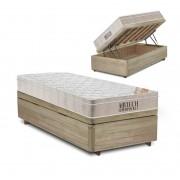 Cama Box com Baú Solteiro Rústica + Colchão De Molas Ensacadas - Ortobom - AirTech SpringPocket 88x188x72cm