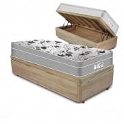 Cama Box com Baú Solteiro Rústica + Colchão De Molas Ensacadas - Probel - Evolution 88x188x74cm