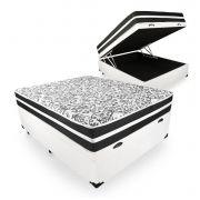 Cama Box Com Baú Viúva + Colchão De Molas - Anjos - Black Graphite 128cm