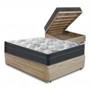 Cama Box com Baú Viúva Rústica + Colchão De Molas Ensacadas - Ortobom - ISO SuperPocket 128x188x67cm