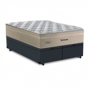Cama Box King Cinza + Colchão de Molas Superlastic - Plumatex - Toulouse - 193x203x69cm