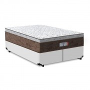 Cama Box Queen Branca + Colchão de Molas Ensacadas - Comfort Prime - Aspen - 158x198x65cm