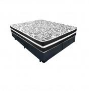 Cama Box Queen Cinza + Colchão De Molas - Anjos - Black Graphite - 158x198x61cm