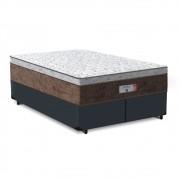 Cama Box Queen Cinza + Colchão de Molas Ensacadas - Comfort Prime - Aspen - 158x198x65cm