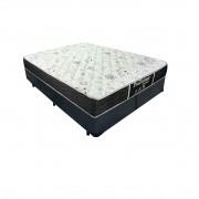 Cama Box Queen Cinza + Colchão De Molas - Probel - Prodormir Sleep Black 158x198x57cm