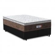 Cama Box Queen Preta + Colchão de Molas Ensacadas - Comfort Prime - Aspen - 158x198x65cm