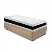 Cama Box Solteiro Rústica + Colchão De Espuma D45 - Castor - Black White Double Face 88x188x64cm