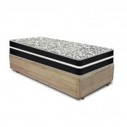 Cama Box Solteiro Rústica + Colchão De Molas - Anjos - Black Graphite 88x188x63cm