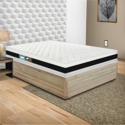 Cama Box Viúva Rústica + Colchão De Espuma D45 - Castor - Black White Double Face 128x188x64cm