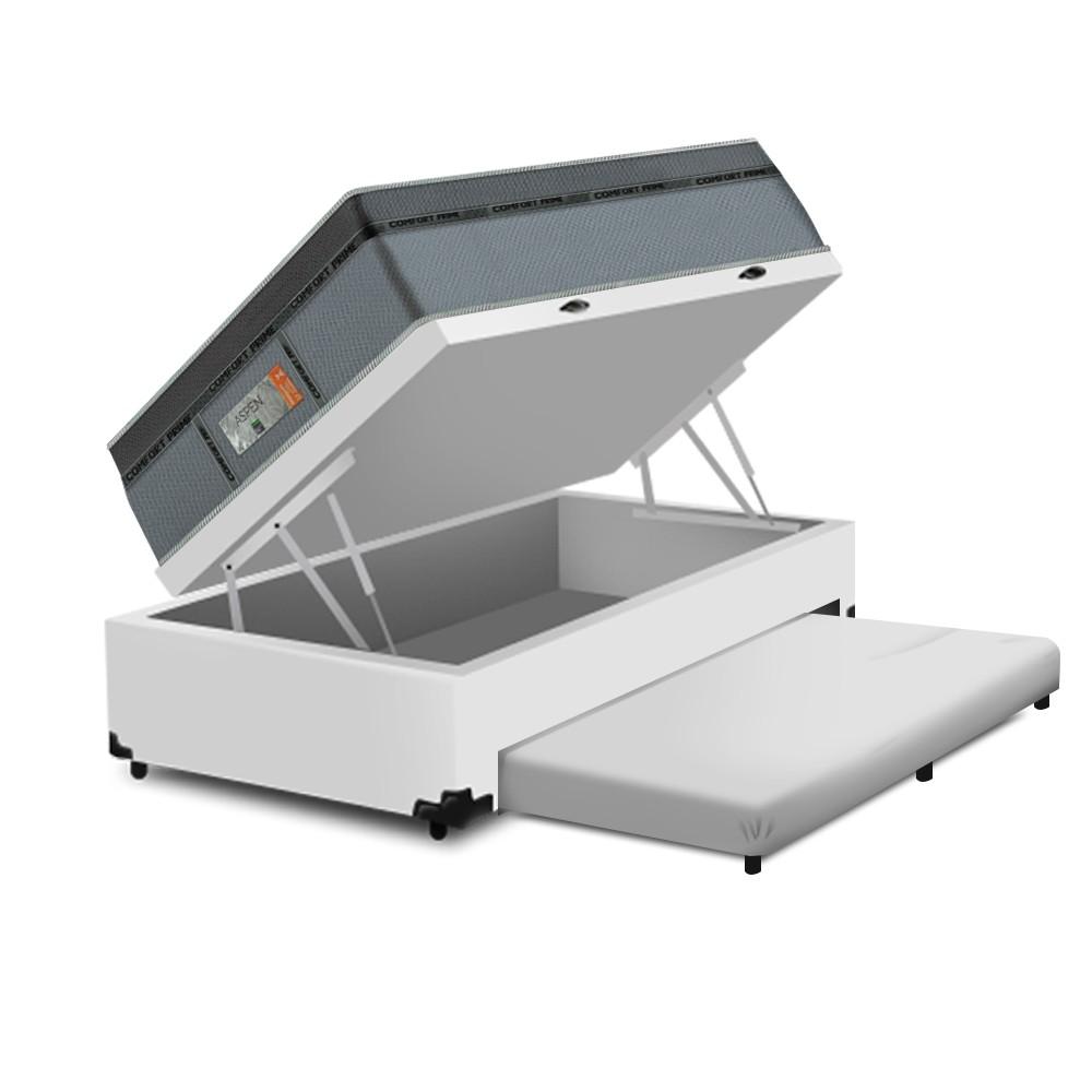 Cama Box Baú Auxiliar Solteiro Branca + Colchão Molas Ensacadas Solteiro - Comfort Prime - New Aspen 88x188x72cm
