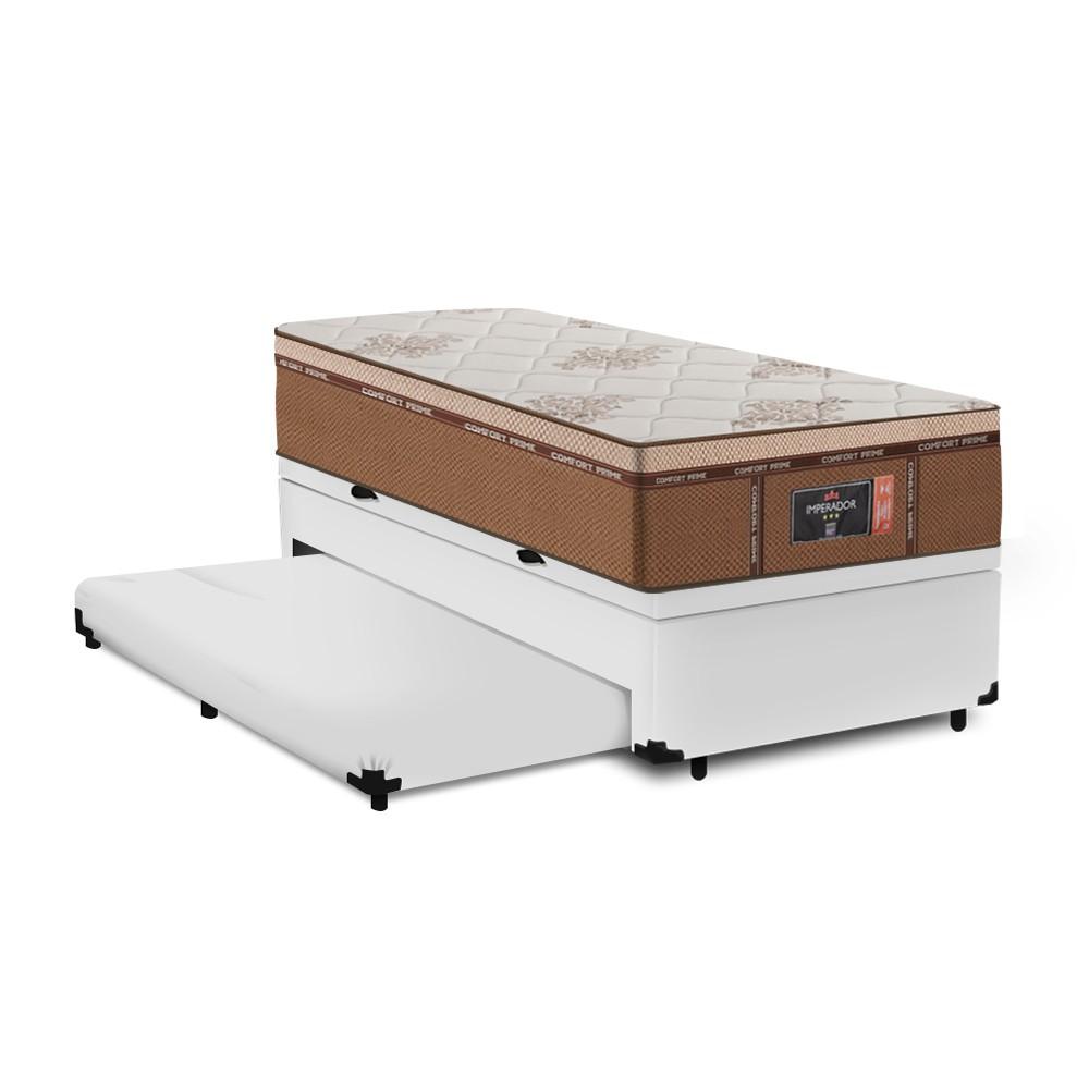 Cama Box Baú Auxiliar Solteiro Branca + Colchão Molas Ensacadas Solteiro - Comfort Prime - New Imperador 88x188x75cm
