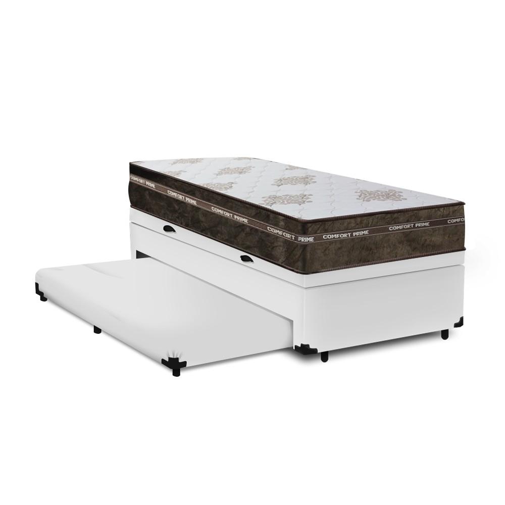 Cama Box Baú Auxiliar Solteiro Branca + Colchão Molas Superlastic Solteiro - Comfort Prime - Coil Classic 88x188x64cm